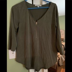 Olive zip front blouse